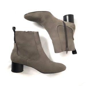 Zara Gray Suede Block Heel Booties Size 8